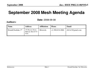 September 2008 Mesh Meeting Agenda