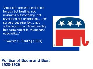 Politics of Boom and Bust  1920-1929