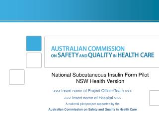National  Subcutaneous  Insulin  Form Pilot NSW Health Version