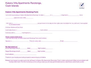 Kakera Villa Apartments Booking Form