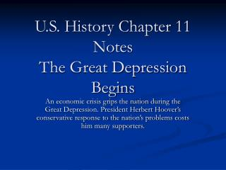 U.S. History Chapter 11 Notes  The Great Depression Begins