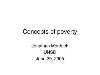 Concepts of poverty