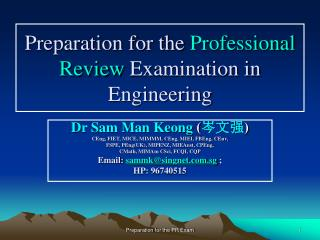 Preparation for the  Professional Review  Examination in Engineering