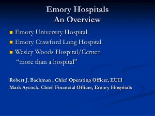 Emory Hospitals  An Overview