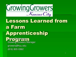 :  Lessons Learned from a Farm Apprenticeship Program