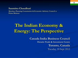 The Indian Economy & Energy: The Perspective