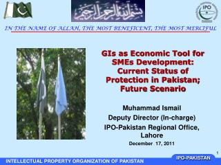 Muhammad Ismail Deputy Director (In-charge) IPO-Pakistan Regional Office, Lahore