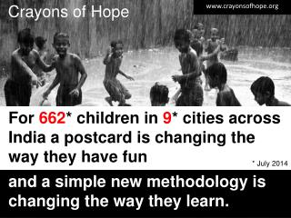 For  662 *  children in  9 *  cities across India a postcard is changing the way they have fun