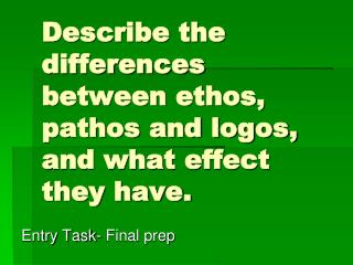 Describe the differences between ethos, pathos and logos, and what effect they have.