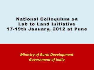 Ministry of Rural Development  Government of India