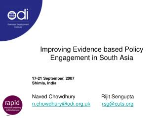Improving Evidence based Policy Engagement in South Asia
