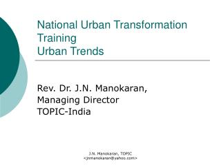 National Urban Transformation Training Urban Trends
