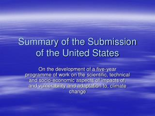 Summary of the Submission of the United States