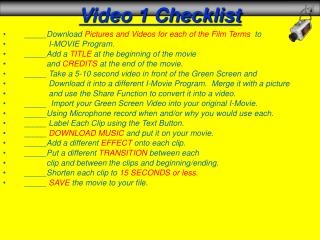 Video 1 Checklist