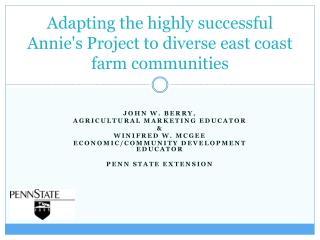 Adapting the highly successful  Annie's Project to diverse east coast farm communities