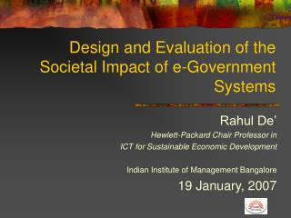 Design and Evaluation of the Societal Impact of e-Government Systems