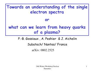 Towards an understanding of the single electron spectra or
