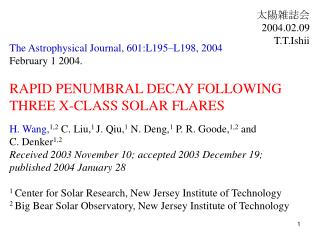 The Astrophysical Journal, 601:L195–L198, 2004  February 1 2004.  RAPID PENUMBRAL DECAY FOLLOWING