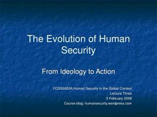 The Evolution of Human Security