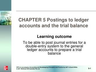 CHAPTER 5 Postings to ledger accounts and the trial balance