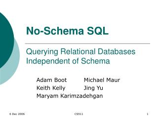 No-Schema SQL Querying Relational Databases Independent of Schema