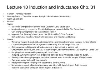 Lecture 10 Induction and Inductance Chp. 31