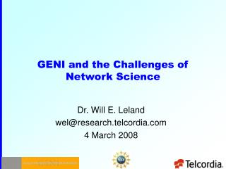 GENI and the Challenges of Network Science