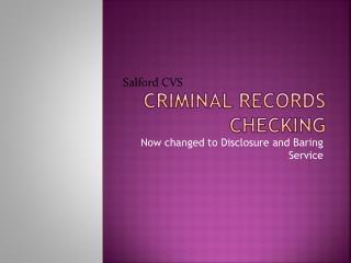 Criminal Records Checking