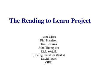 The Reading to Learn Project