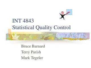 INT 4843 Statistical Quality Control