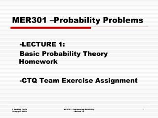 MER301 –Probability Problems