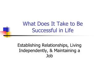 What Does It Take to Be Successful in Life
