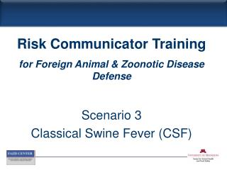 Scenario 3 Classical Swine Fever (CSF)