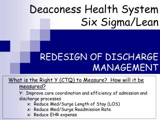 REDESIGN OF DISCHARGE MANAGEMENT