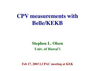 CPV measurements with Belle/KEKB
