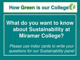 How Green is our College?