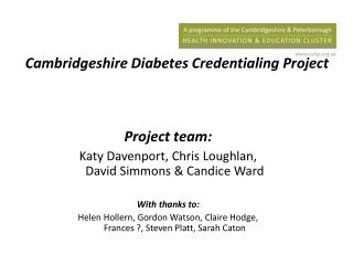 Cambridgeshire Diabetes Credentialing Project