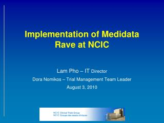 Implementation of Medidata Rave at NCIC