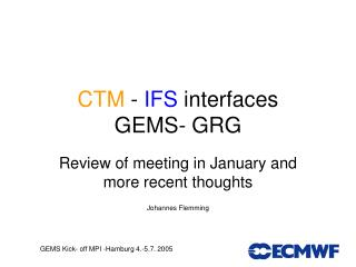 CTM - IFS interfaces GEMS- GRG