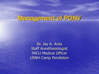 Management of PONV