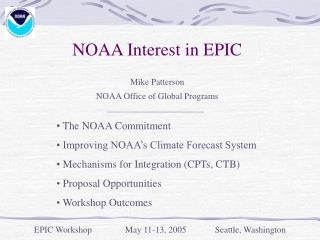 NOAA Interest in EPIC