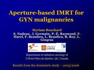 Aperture-based IMRT for GYN malignancies