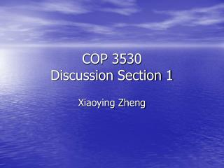 COP 3530 Discussion Section 1