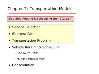 Chapter 7: Transportation Models