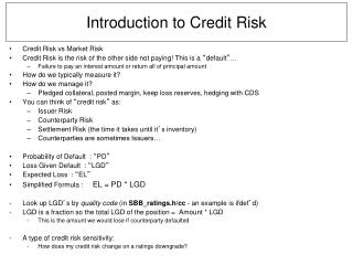 Introduction to Credit Risk