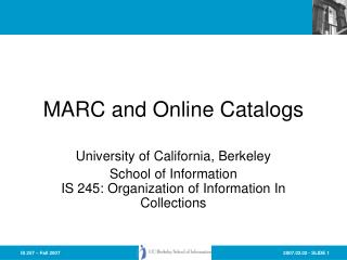 MARC and Online Catalogs