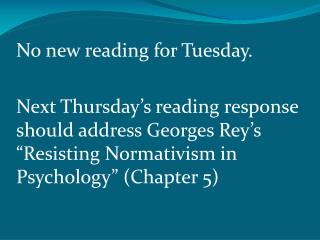 No new reading for Tuesday.