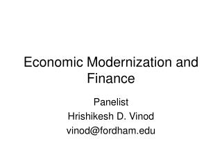 Economic Modernization and Finance