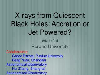 X-rays from Quiescent Black Holes: Accretion or Jet Powered?