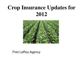 Crop Insurance Updates for 2012